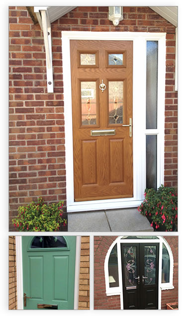Composite front doors, a double door, a green door and oak effect.