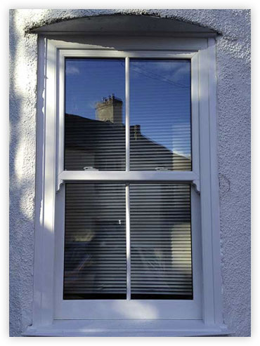 White box sash window