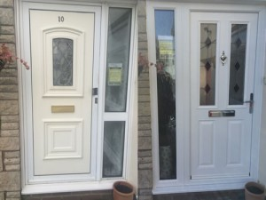 White composite door with black diamonds