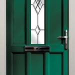 Green entrance door with glass decorative feature