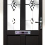 Black entrance door with decorative glass