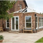 Ultraframe orangery with brick base and glazed roof