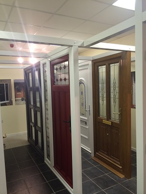 Range of doors in our Talbot Green showroom