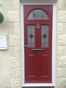 Burgundy entrance door