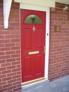 Poppy red entrance door