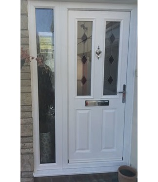Llantwit Major - new white composite door with black diamond glass