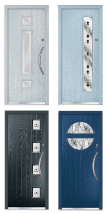 Apeer composite door SB27 Symphony Tahoe Black Abstract Blue