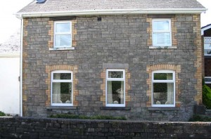 white upvc top windows with roofline guttering