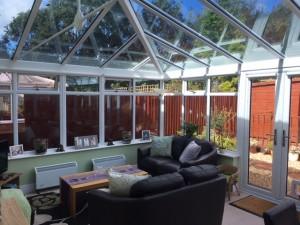 Conservatory interior glass roof